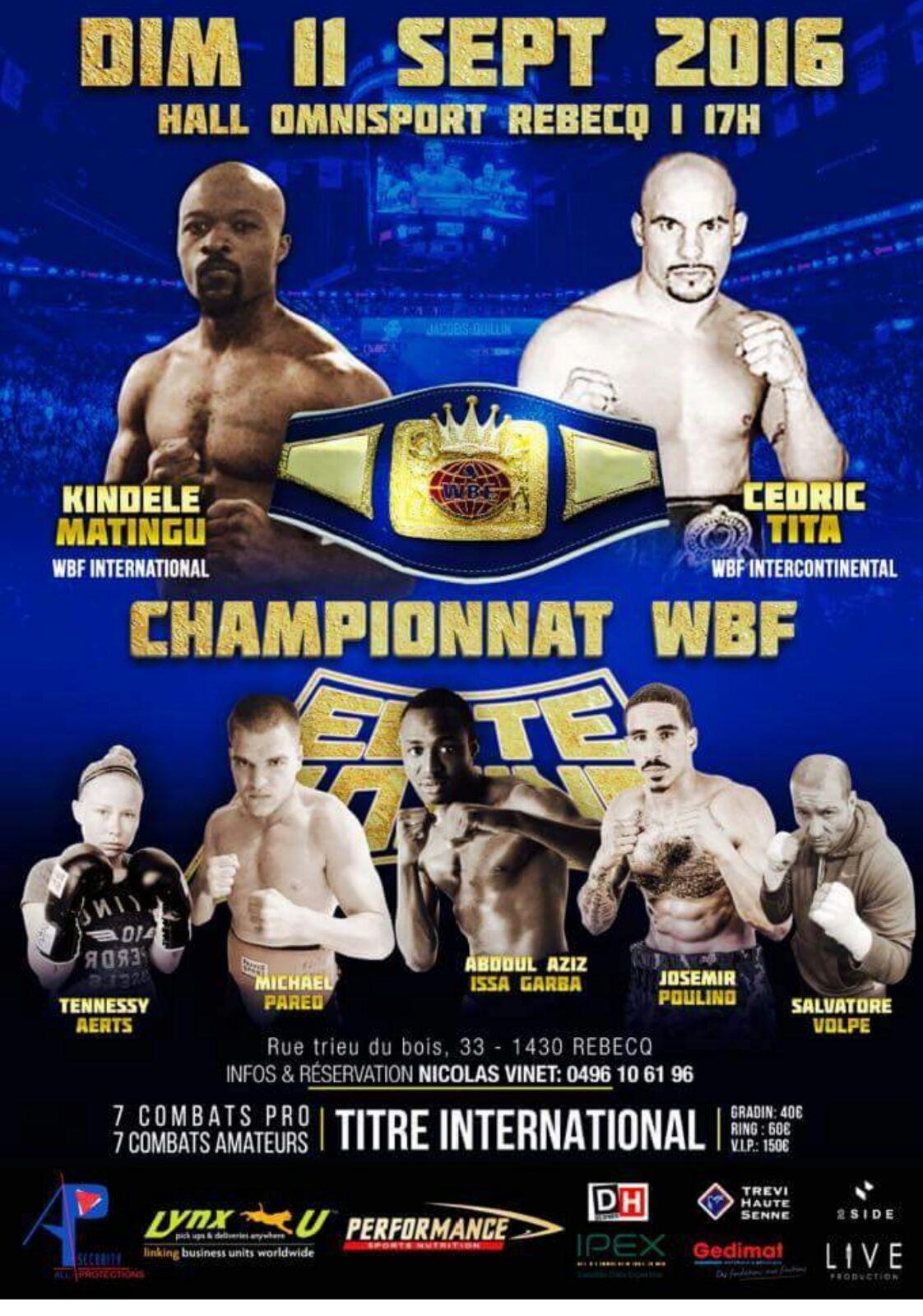 Josemir Poulino zal 11 september 2016 uitkomen als undercard   tijdens het boksgala in Rebecq, waar gestreden wordt om de WBF-titel